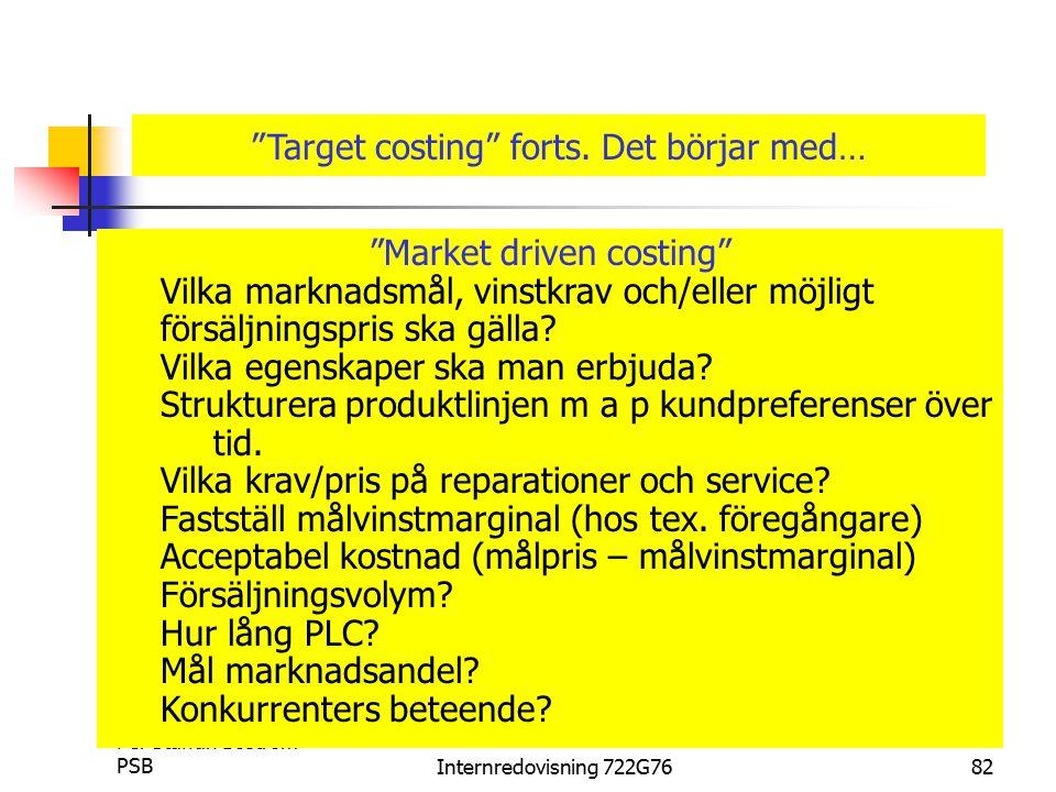 Target costing forts. Det börjar med…
