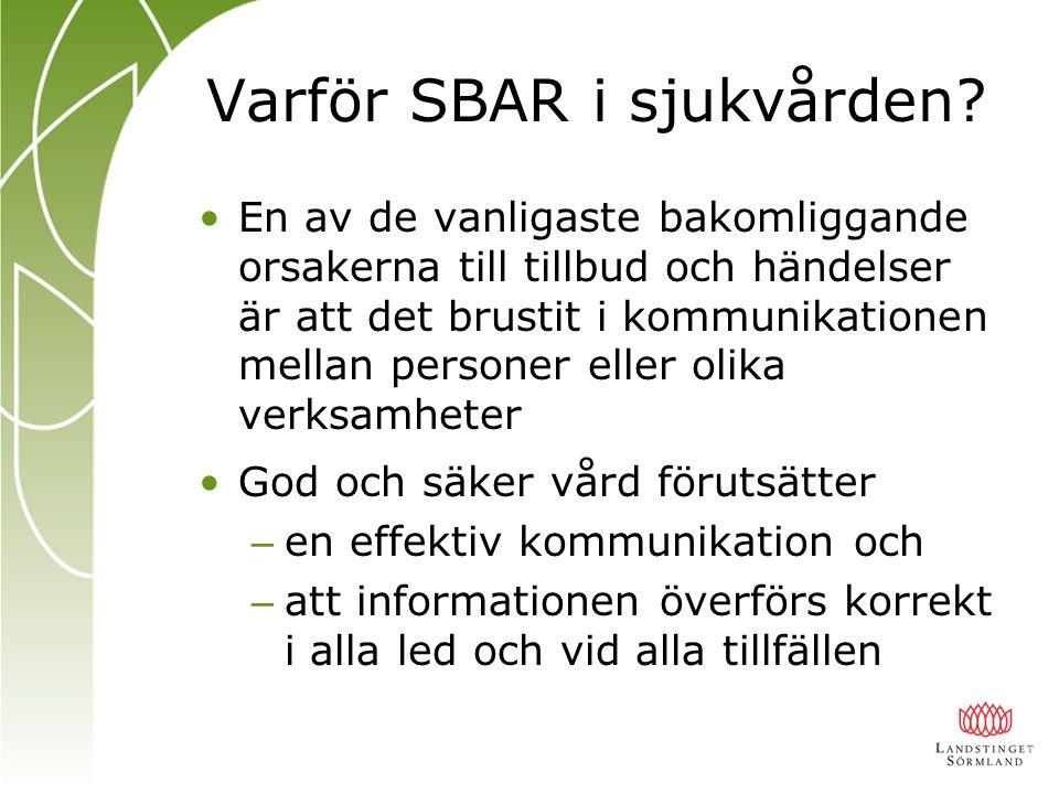 Varför SBAR i sjukvården