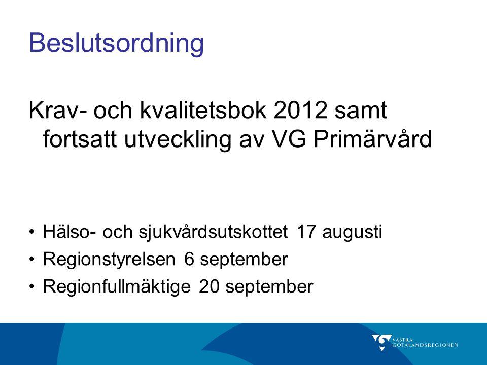 Beslutsordning Krav- och kvalitetsbok 2012 samt fortsatt utveckling av VG Primärvård. Hälso- och sjukvårdsutskottet 17 augusti.