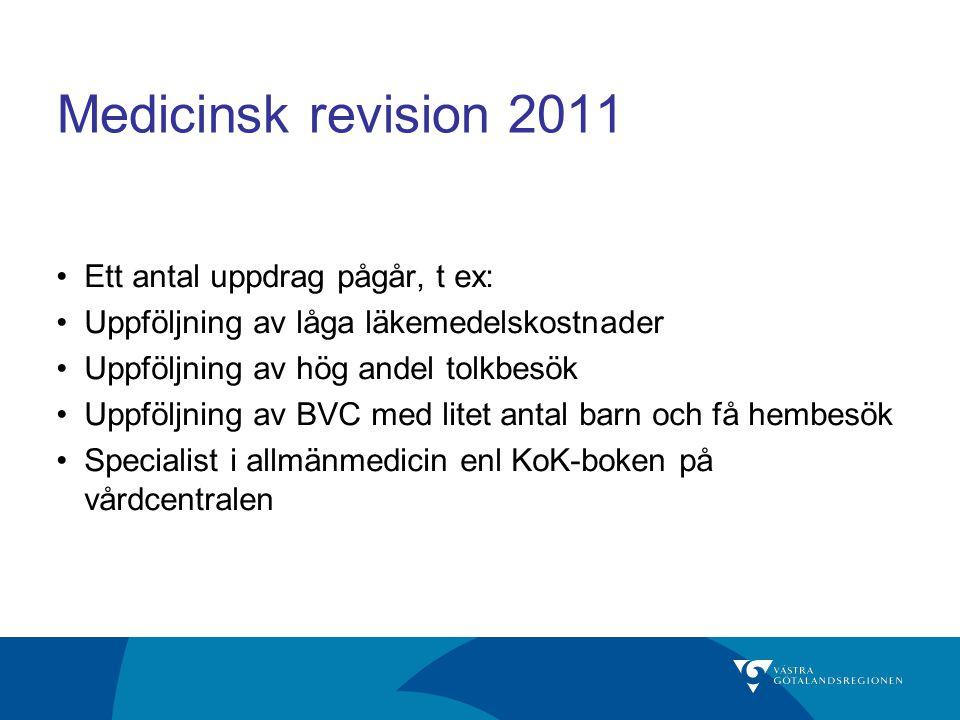 Medicinsk revision 2011 Ett antal uppdrag pågår, t ex: