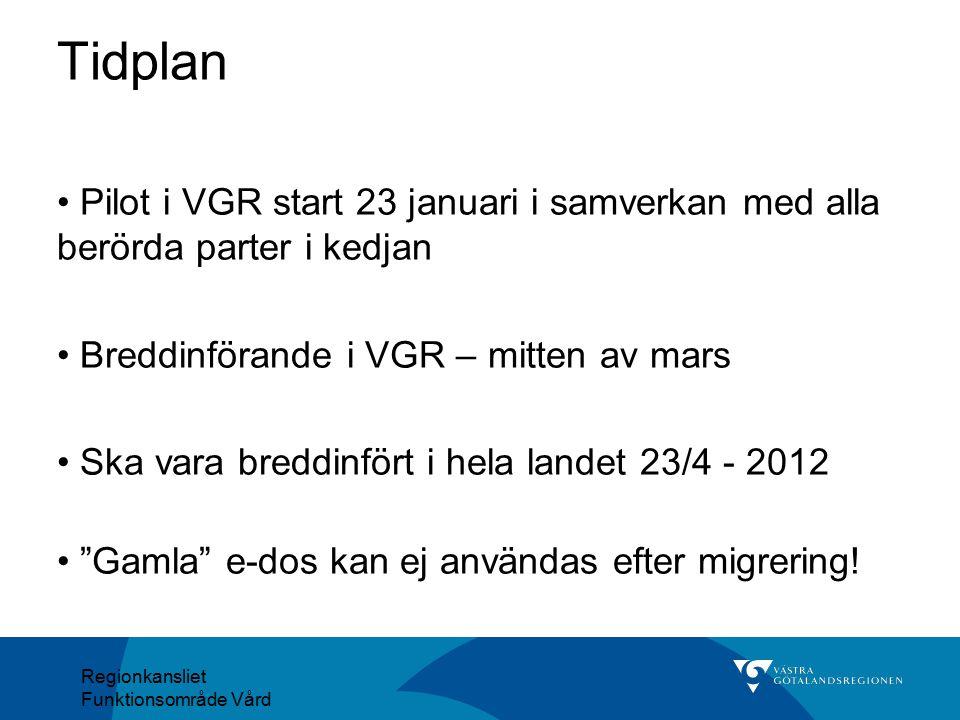 Tidplan Pilot i VGR start 23 januari i samverkan med alla berörda parter i kedjan. Breddinförande i VGR – mitten av mars.