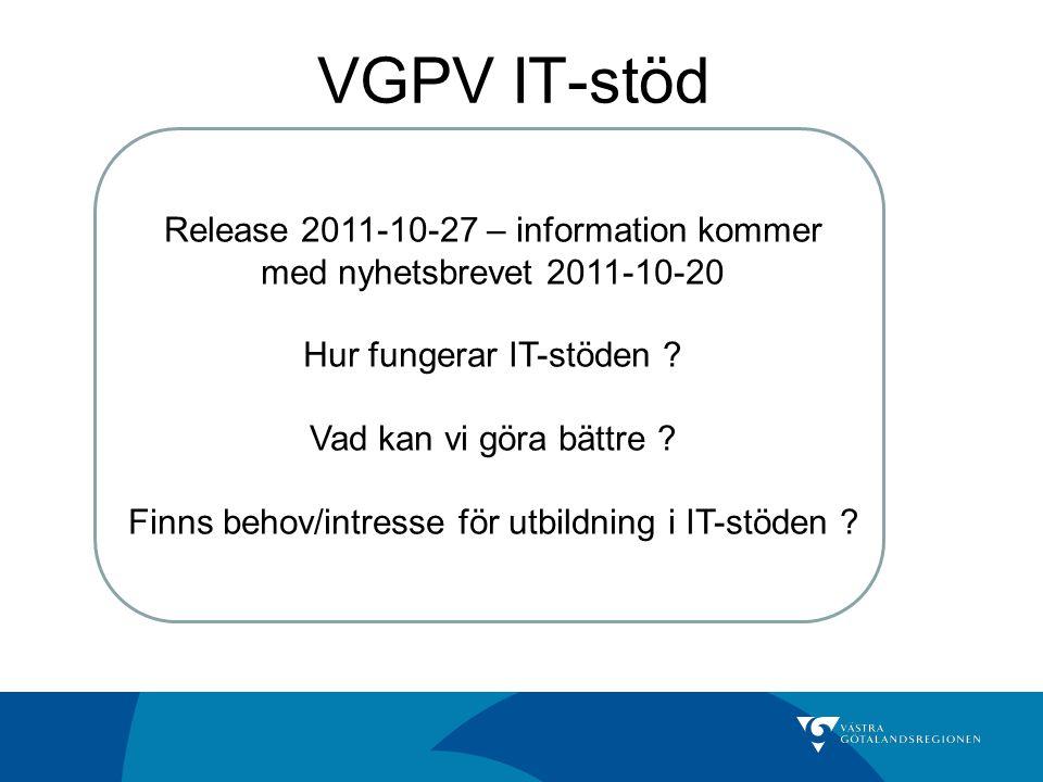 VGPV IT-stöd IT Vårdval. IT Ersättning. Upload/Vip. IT Stat. Release 2011-10-27 – information kommer med nyhetsbrevet 2011-10-20.