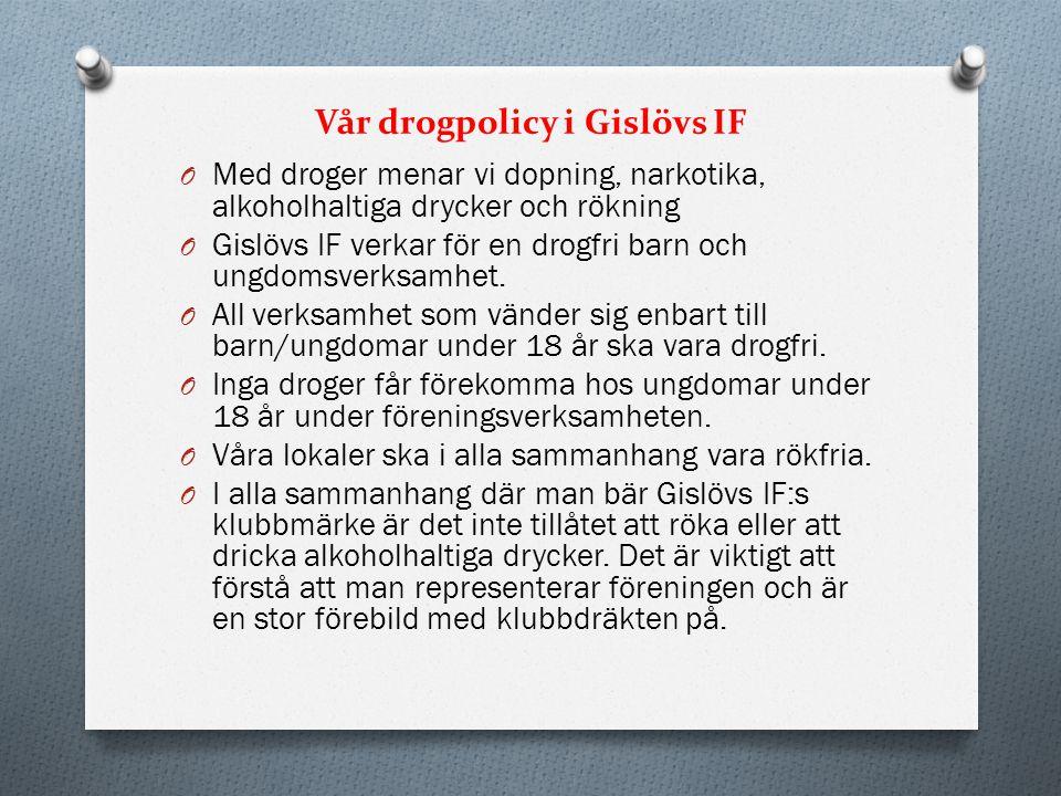 Vår drogpolicy i Gislövs IF