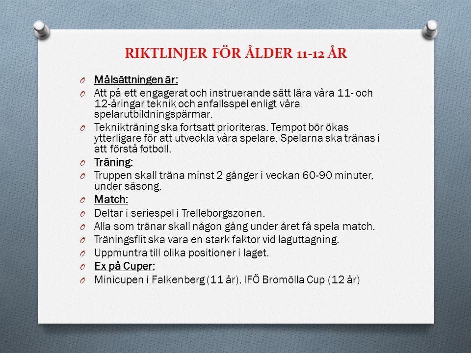 RIKTLINJER FÖR ÅLDER 11-12 ÅR
