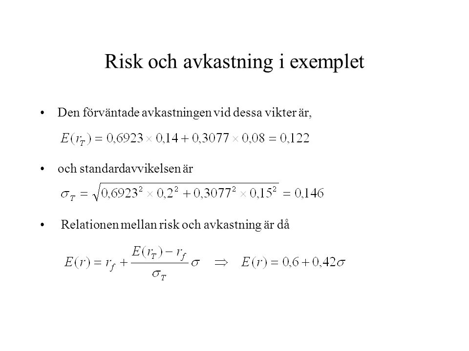 Risk och avkastning i exemplet