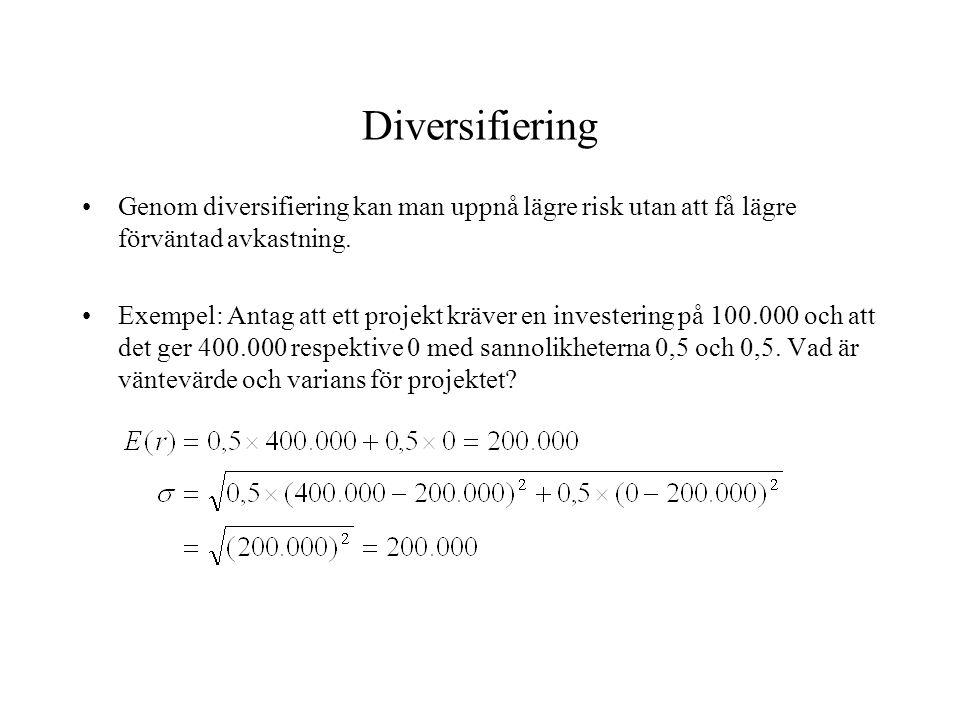 Diversifiering Genom diversifiering kan man uppnå lägre risk utan att få lägre förväntad avkastning.