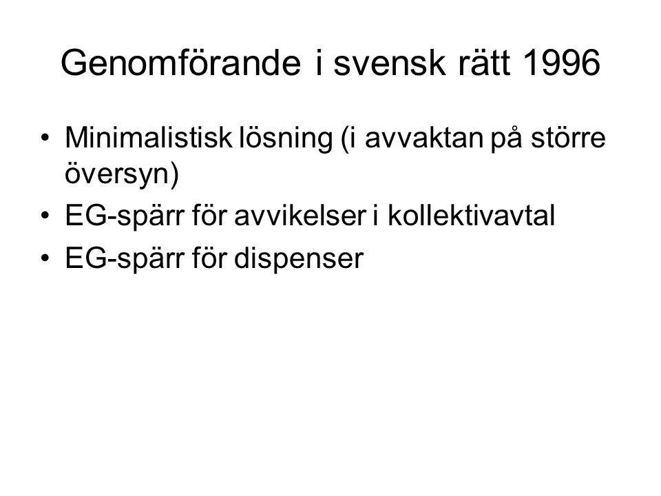 Genomförande i svensk rätt 1996