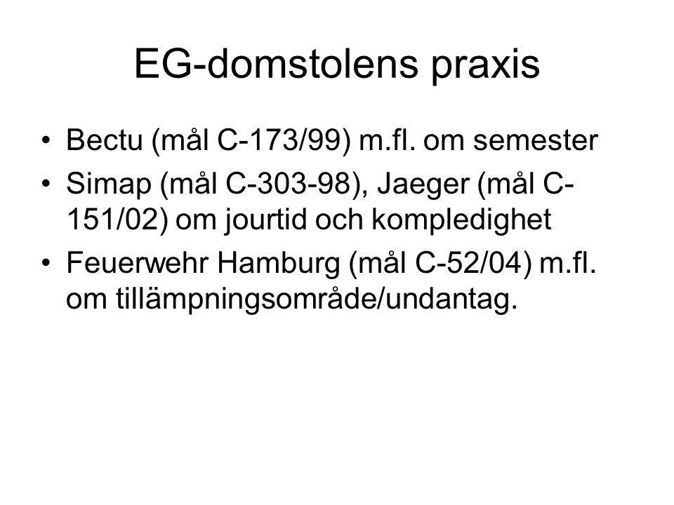 EG-domstolens praxis Bectu (mål C-173/99) m.fl. om semester