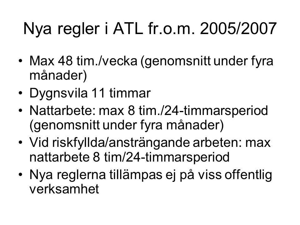 Nya regler i ATL fr.o.m. 2005/2007 Max 48 tim./vecka (genomsnitt under fyra månader) Dygnsvila 11 timmar.