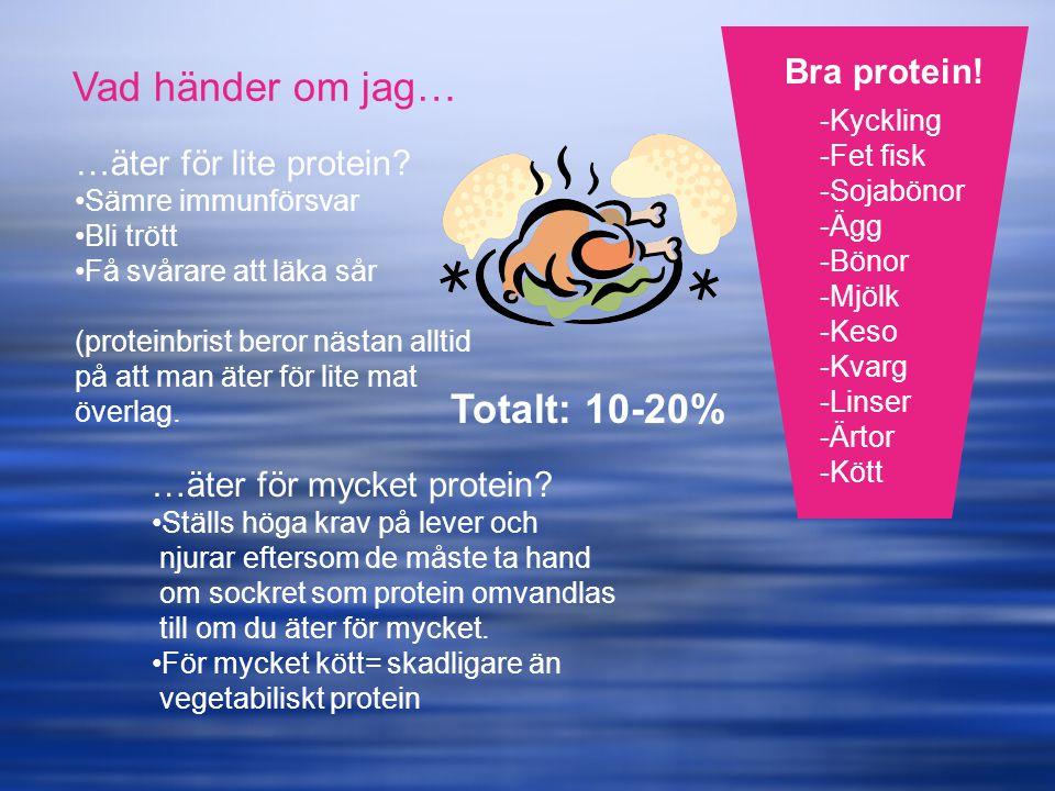 Vad händer om jag… Totalt: 10-20% Bra protein! …äter för lite protein