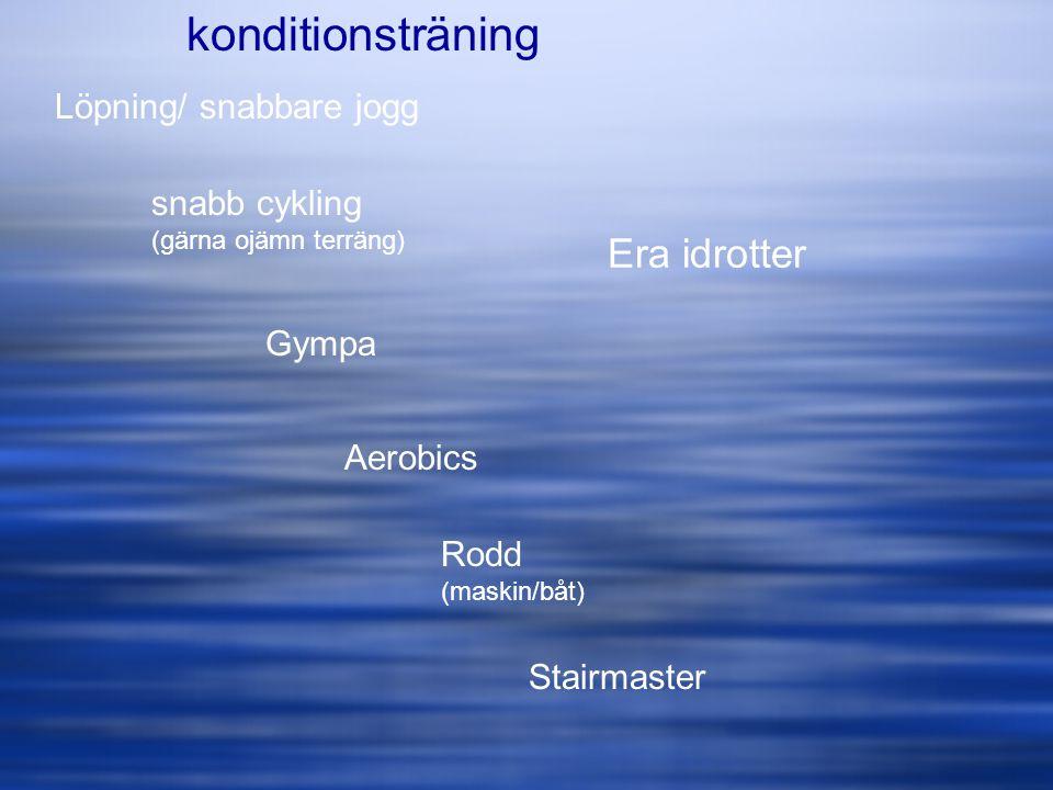 konditionsträning Era idrotter Löpning/ snabbare jogg snabb cykling
