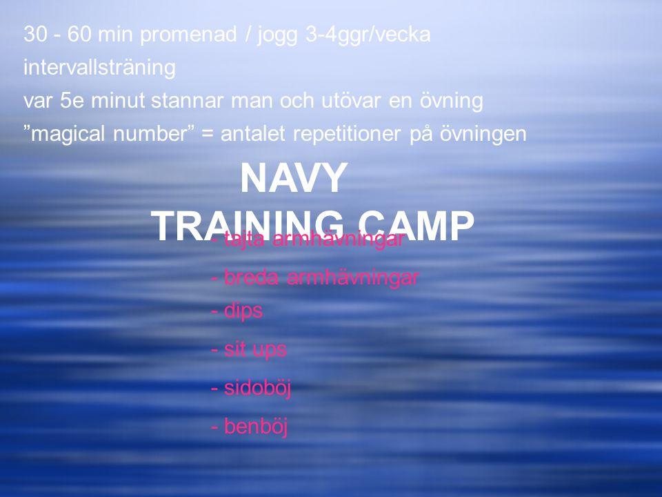 NAVY TRAINING CAMP 30 - 60 min promenad / jogg 3-4ggr/vecka