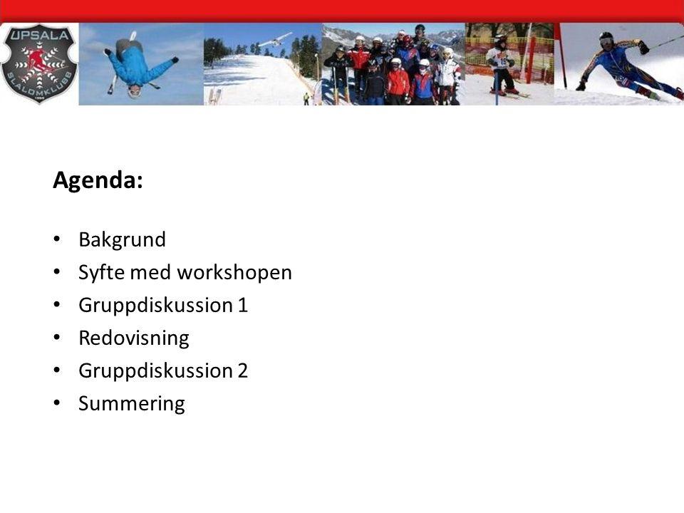 Agenda: Bakgrund Syfte med workshopen Gruppdiskussion 1 Redovisning