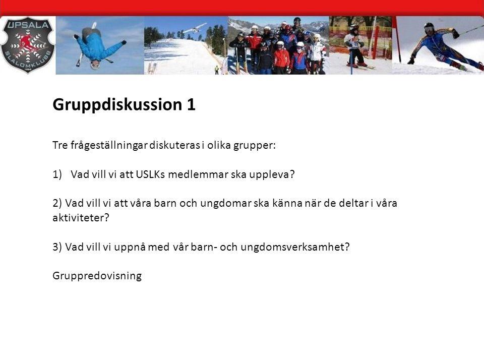 Gruppdiskussion 1 Tre frågeställningar diskuteras i olika grupper: