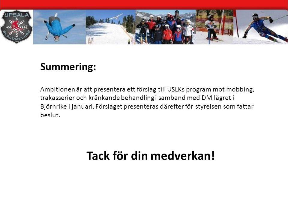 Tack för din medverkan! Summering: