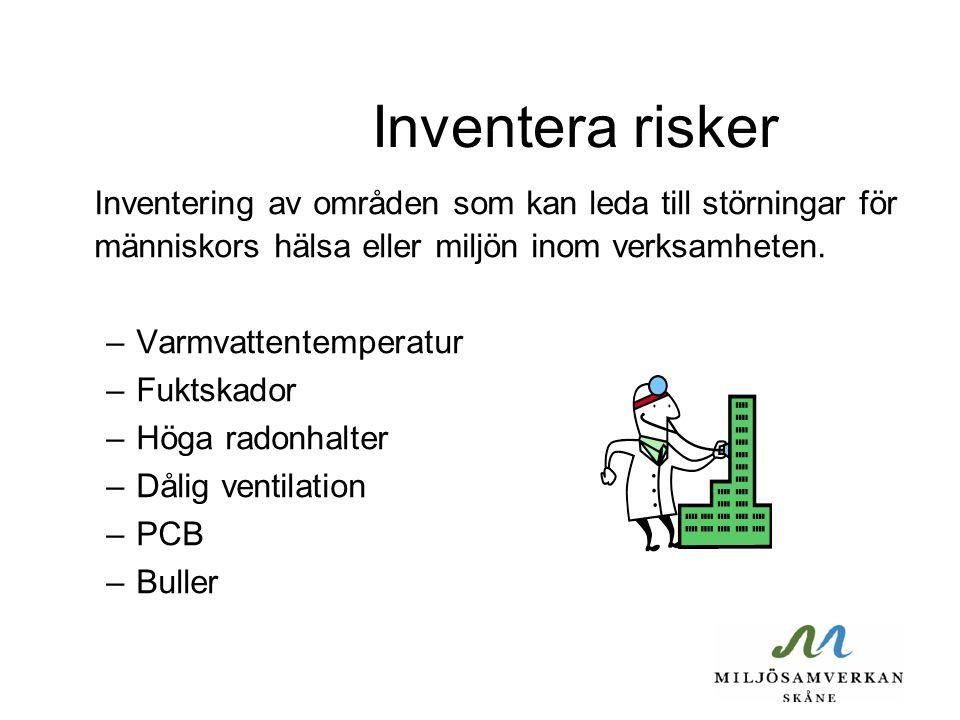Inventera risker Inventering av områden som kan leda till störningar för människors hälsa eller miljön inom verksamheten.