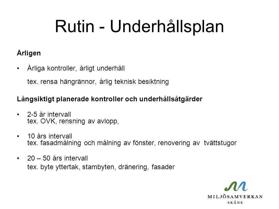 Rutin - Underhållsplan