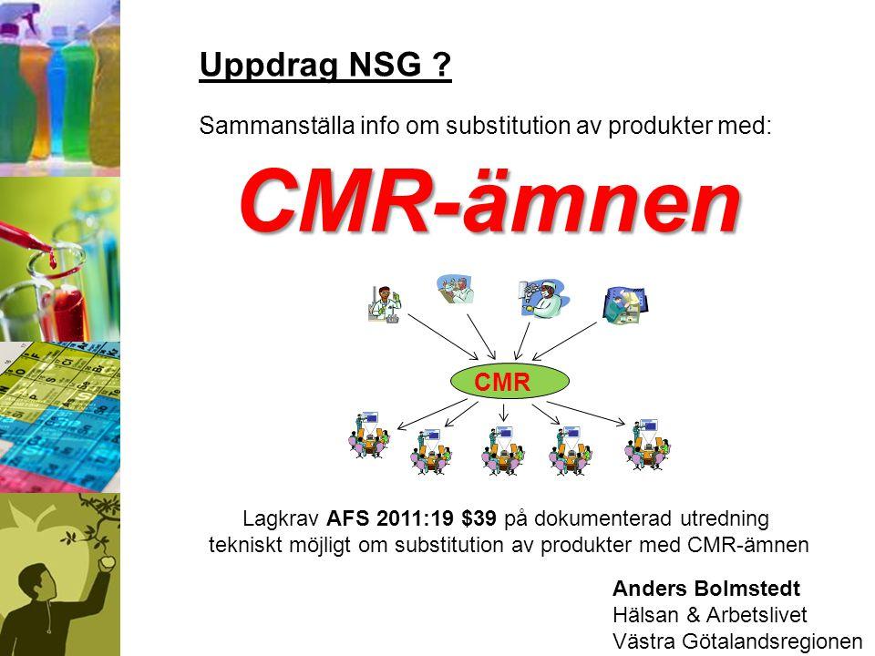 Uppdrag NSG Sammanställa info om substitution av produkter med: CMR-ämnen. CMR. Lagkrav AFS 2011:19 $39 på dokumenterad utredning.