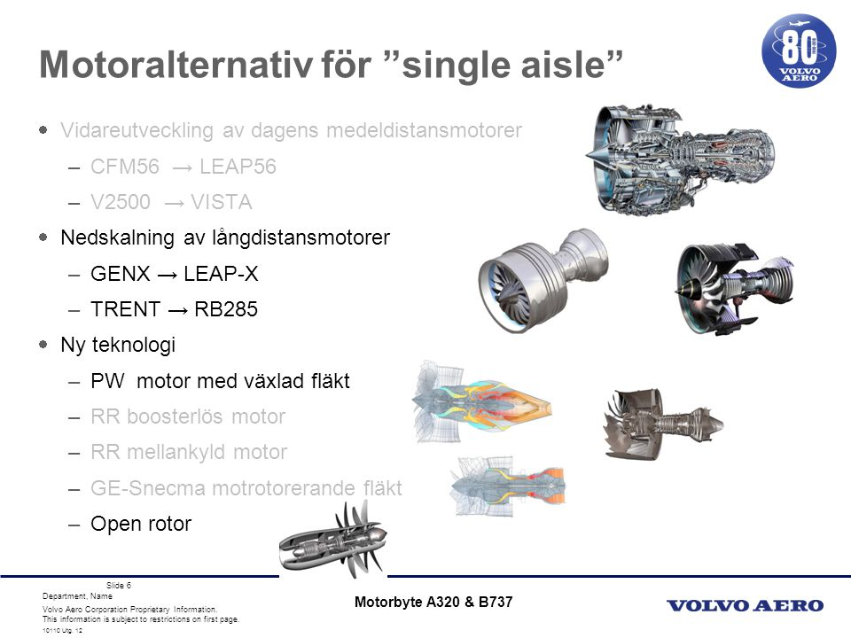 Motoralternativ för single aisle
