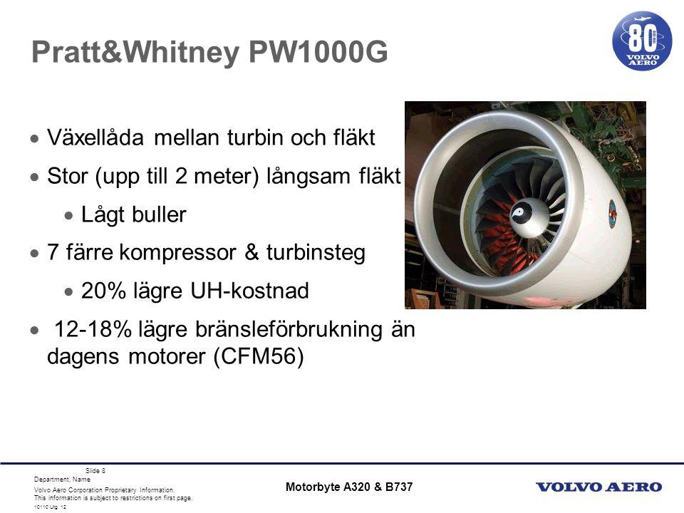 Pratt&Whitney PW1000G Växellåda mellan turbin och fläkt