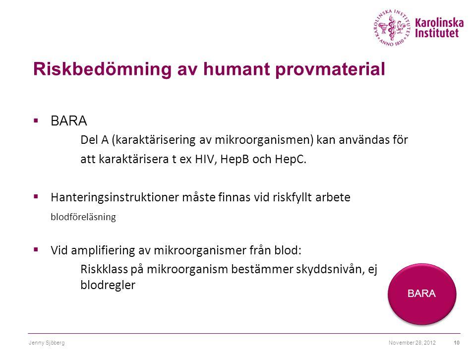 Riskbedömning av humant provmaterial