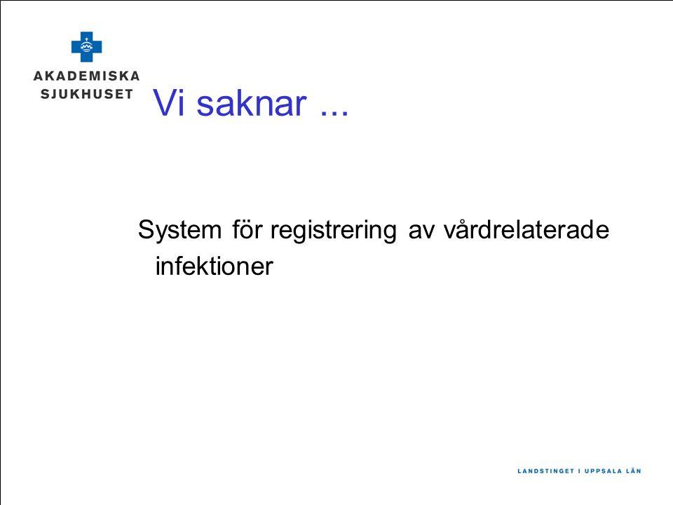 Vi saknar ... System för registrering av vårdrelaterade infektioner