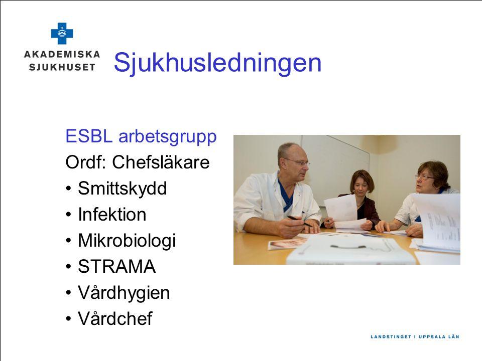 Sjukhusledningen ESBL arbetsgrupp Ordf: Chefsläkare Smittskydd