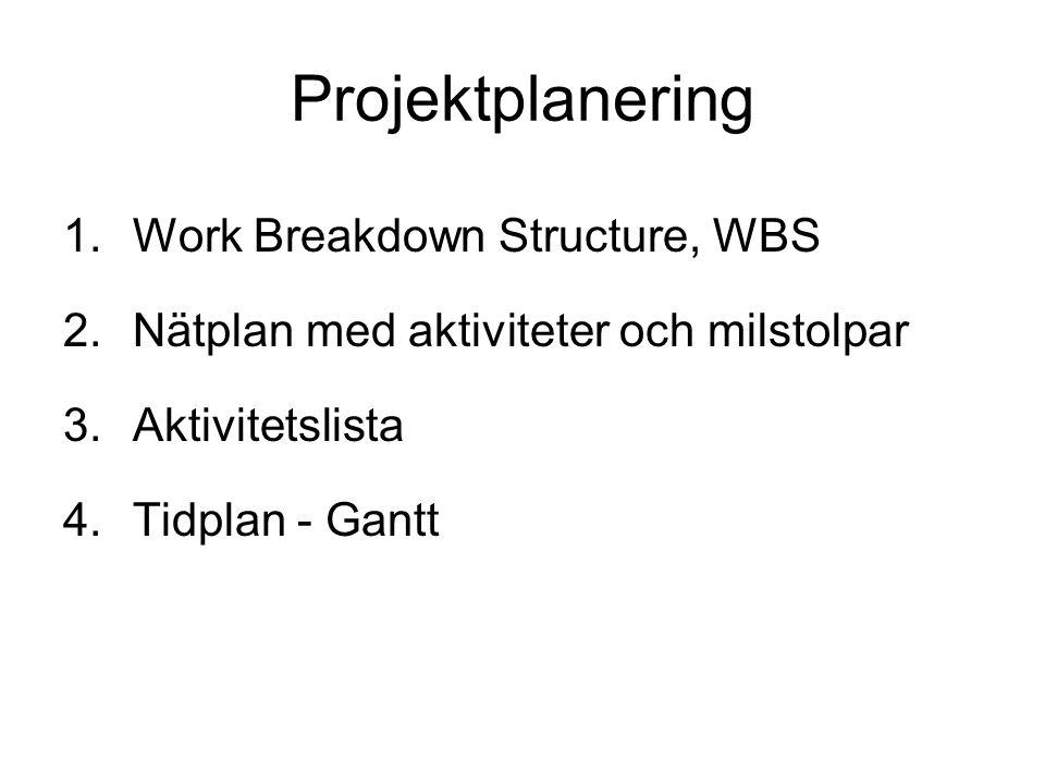 Projektplanering Work Breakdown Structure, WBS