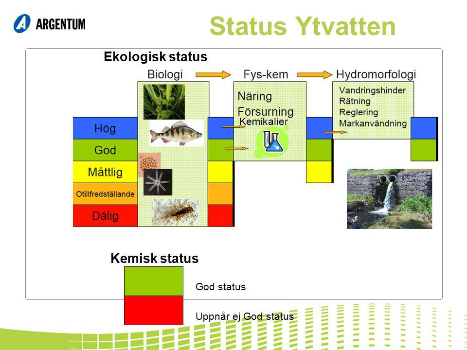 Status Ytvatten Ekologisk status Kemisk status Kemikalier God status