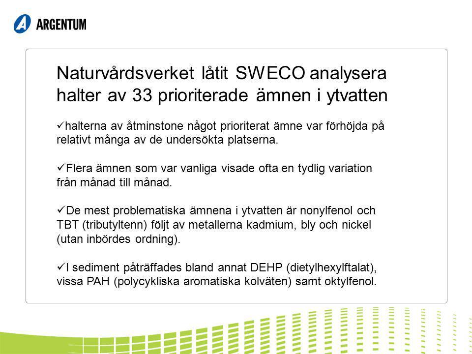 Naturvårdsverket låtit SWECO analysera halter av 33 prioriterade ämnen i ytvatten