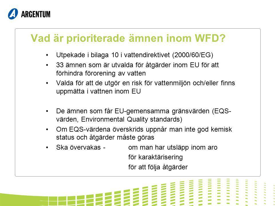 Vad är prioriterade ämnen inom WFD