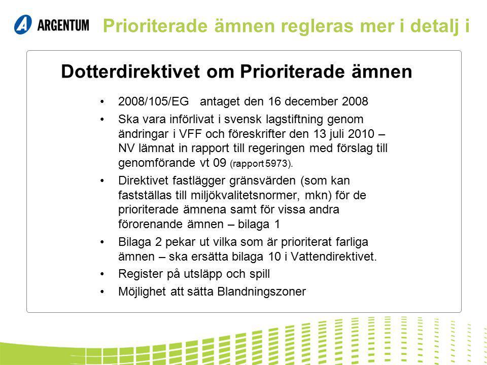 Dotterdirektivet om Prioriterade ämnen