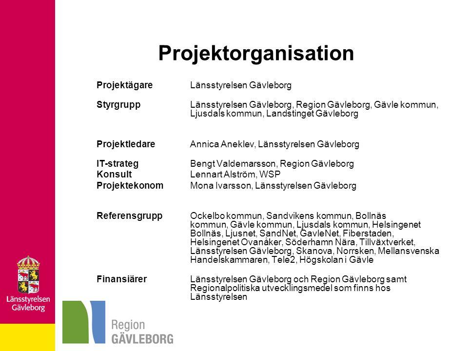 Projektorganisation Projektägare Länsstyrelsen Gävleborg