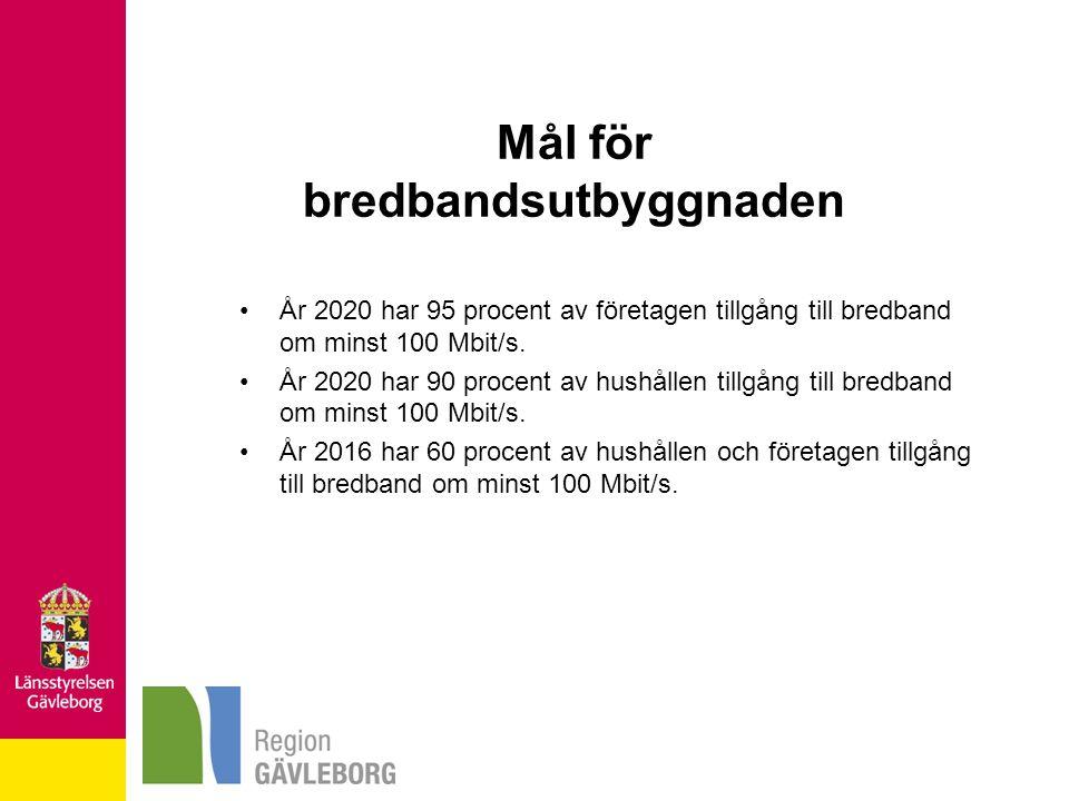 Mål för bredbandsutbyggnaden