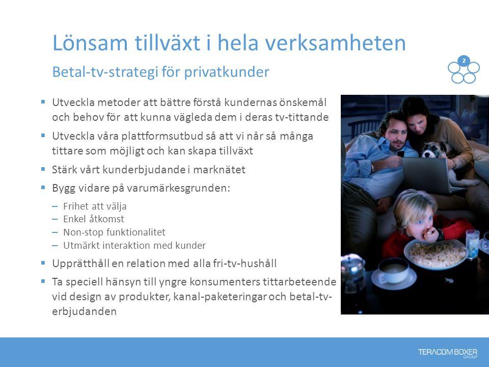 Lönsam tillväxt i hela verksamheten Betal-tv-strategi för privatkunder