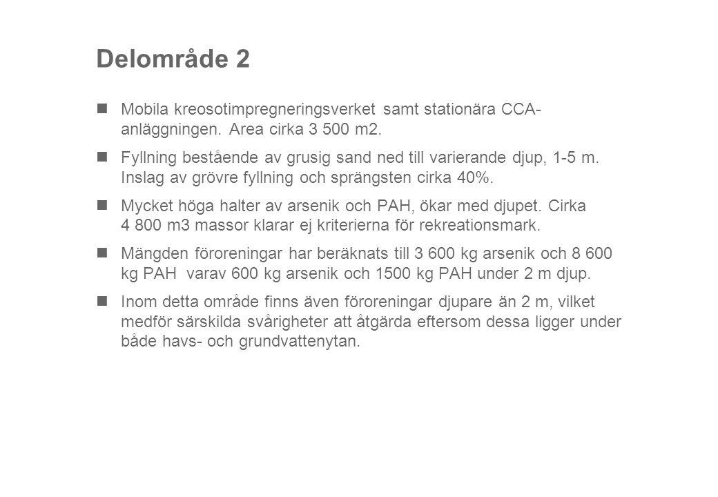 Delområde 2 Mobila kreosotimpregneringsverket samt stationära CCA- anläggningen. Area cirka 3 500 m2.