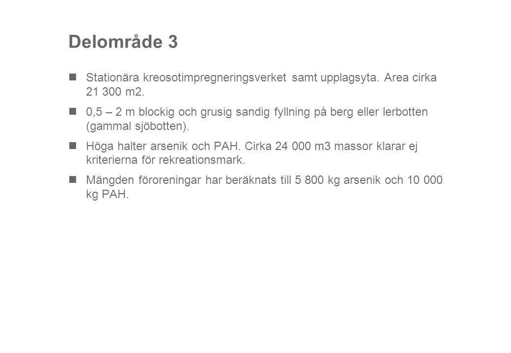 Delområde 3 Stationära kreosotimpregneringsverket samt upplagsyta. Area cirka 21 300 m2.