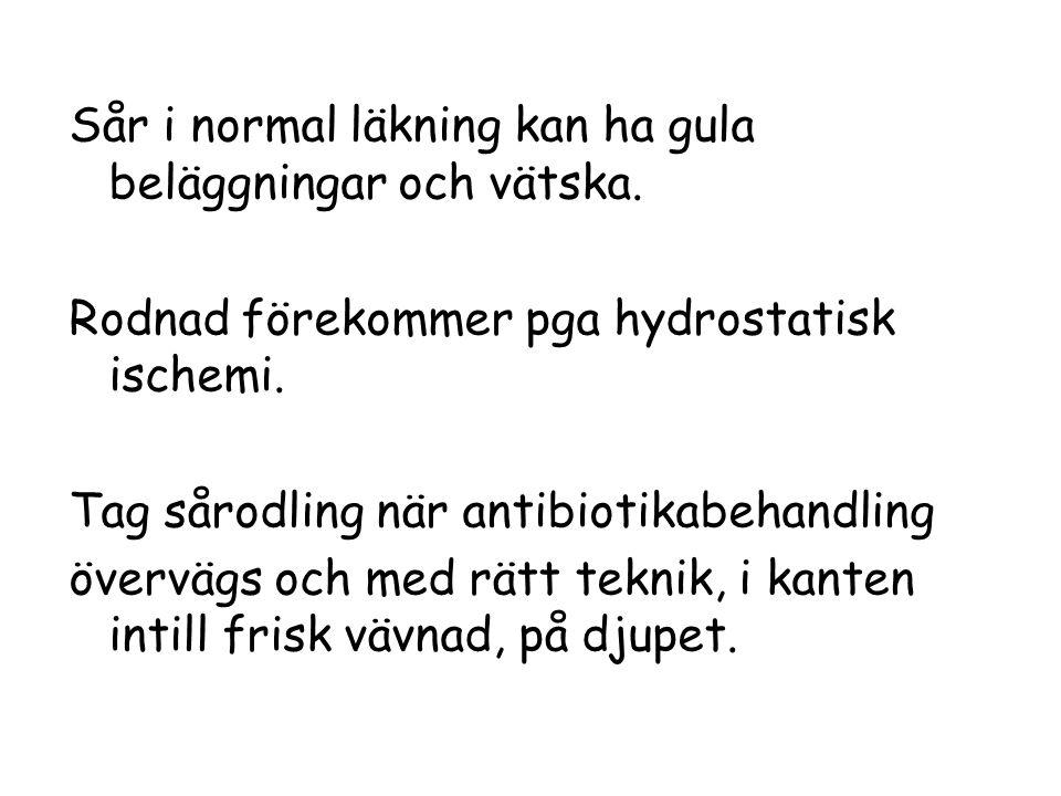 Sår i normal läkning kan ha gula beläggningar och vätska.