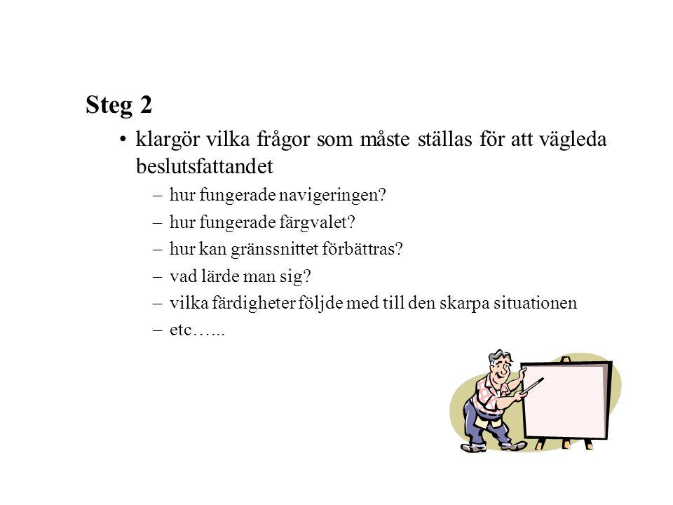 Steg 2 klargör vilka frågor som måste ställas för att vägleda beslutsfattandet. hur fungerade navigeringen