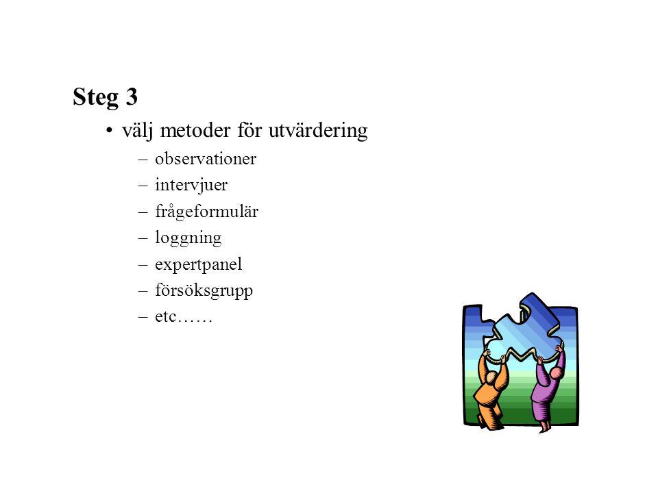 Steg 3 välj metoder för utvärdering observationer intervjuer