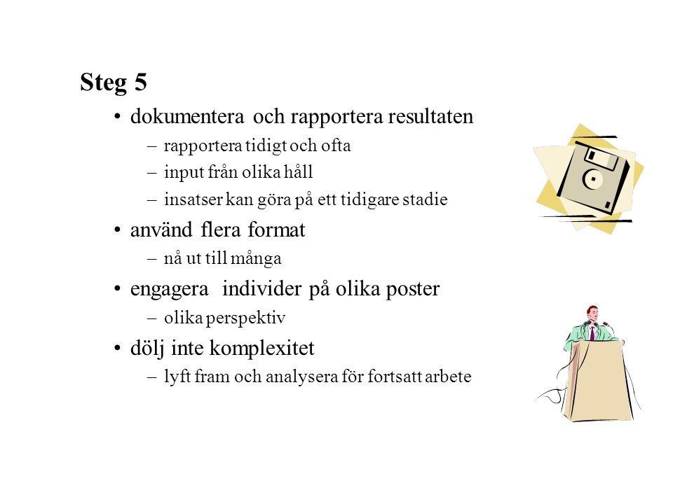 Steg 5 dokumentera och rapportera resultaten använd flera format
