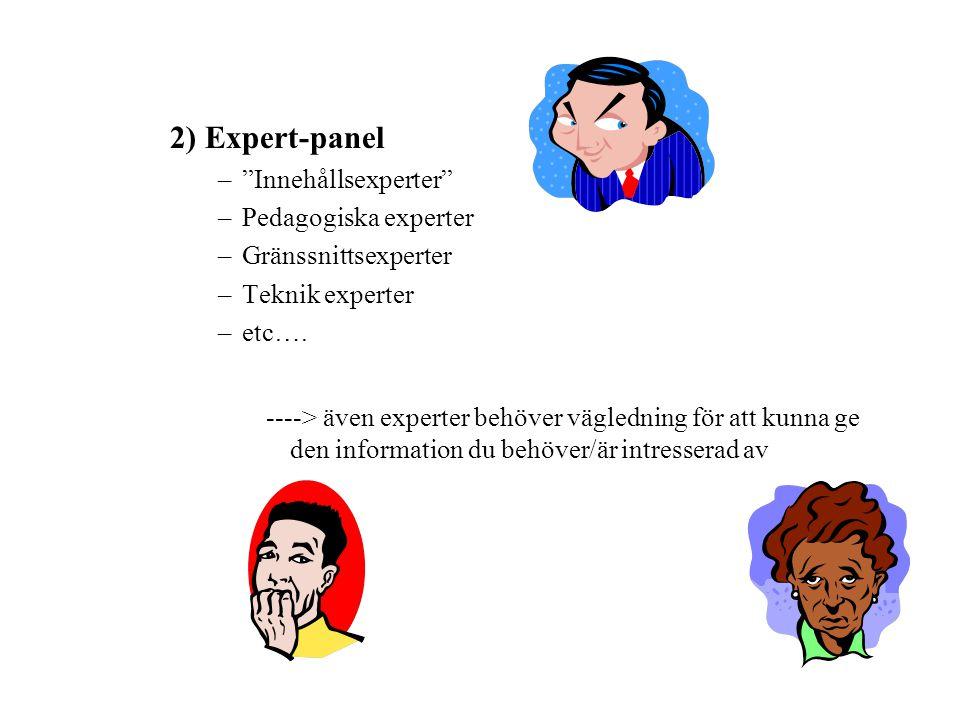 2) Expert-panel Innehållsexperter Pedagogiska experter