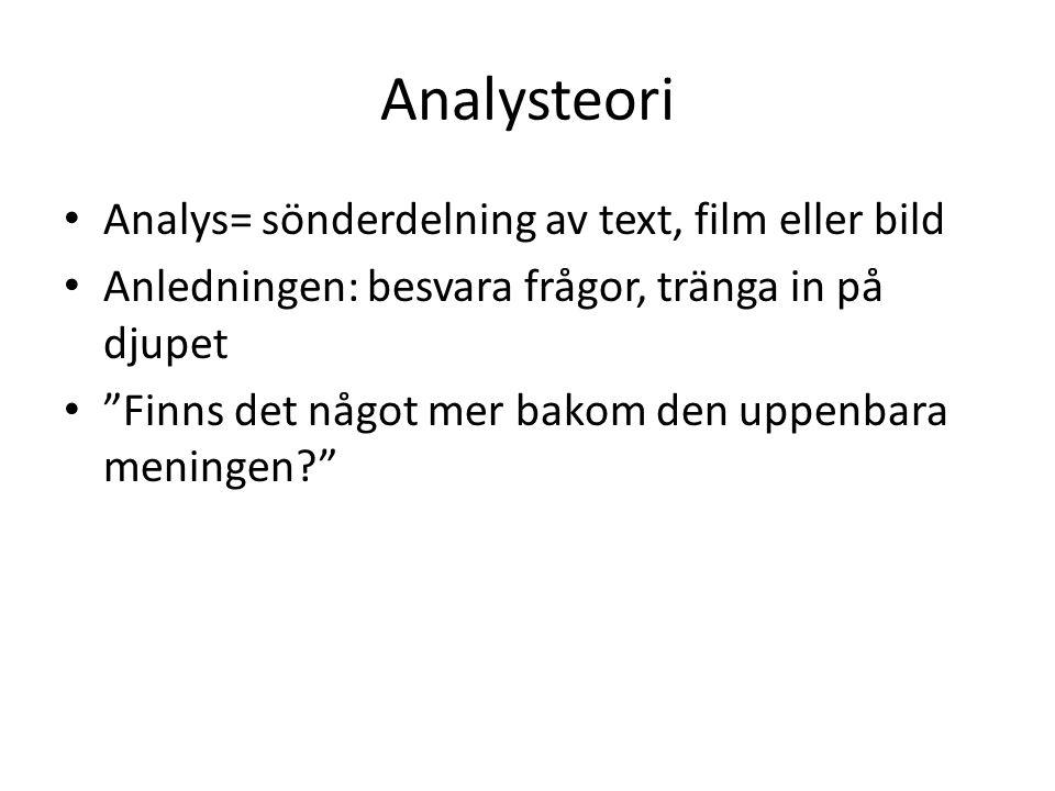 Analysteori Analys= sönderdelning av text, film eller bild