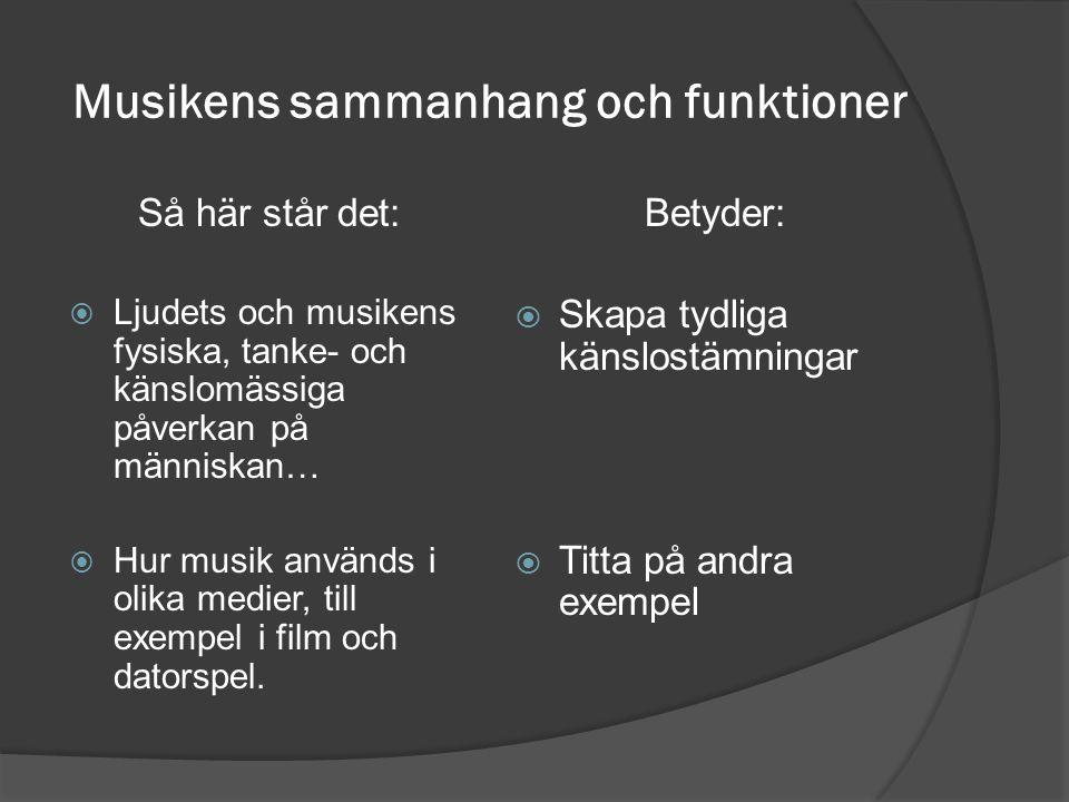 Musikens sammanhang och funktioner