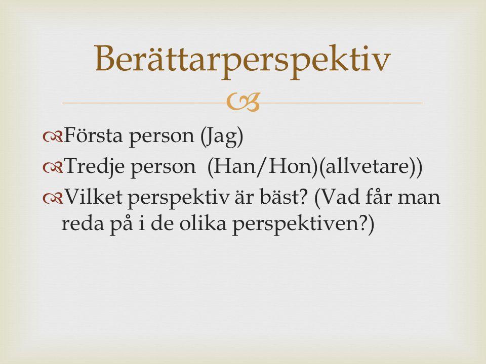 Berättarperspektiv Första person (Jag)