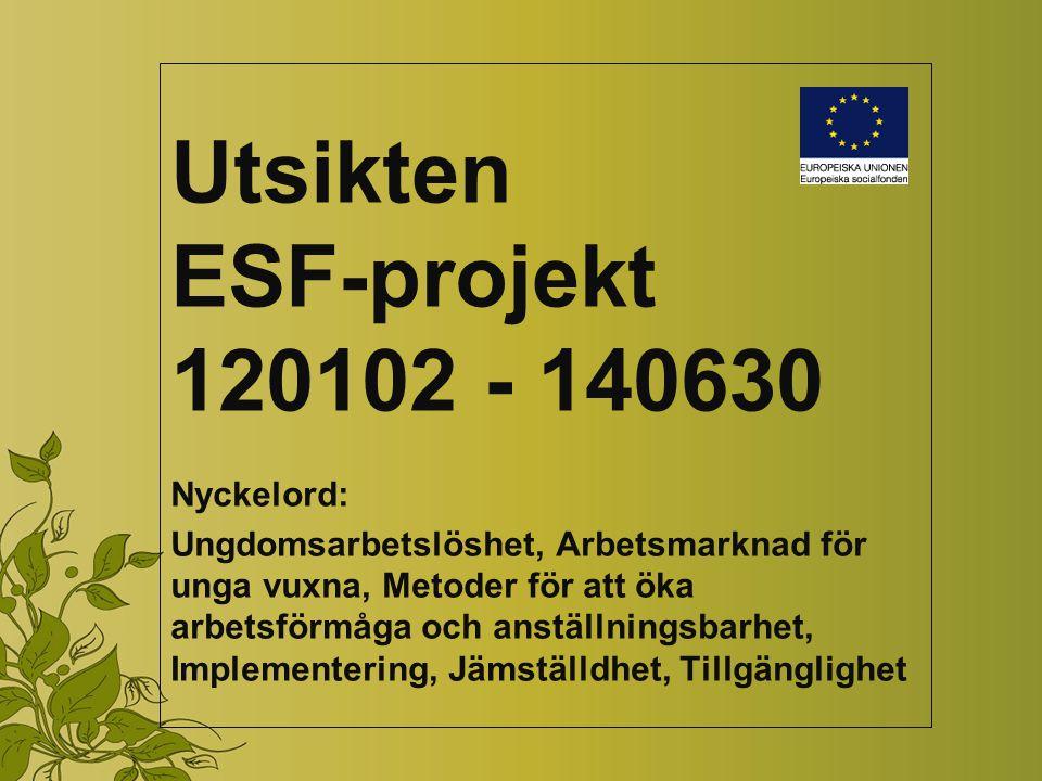 Utsikten ESF-projekt 120102 - 140630 Nyckelord: