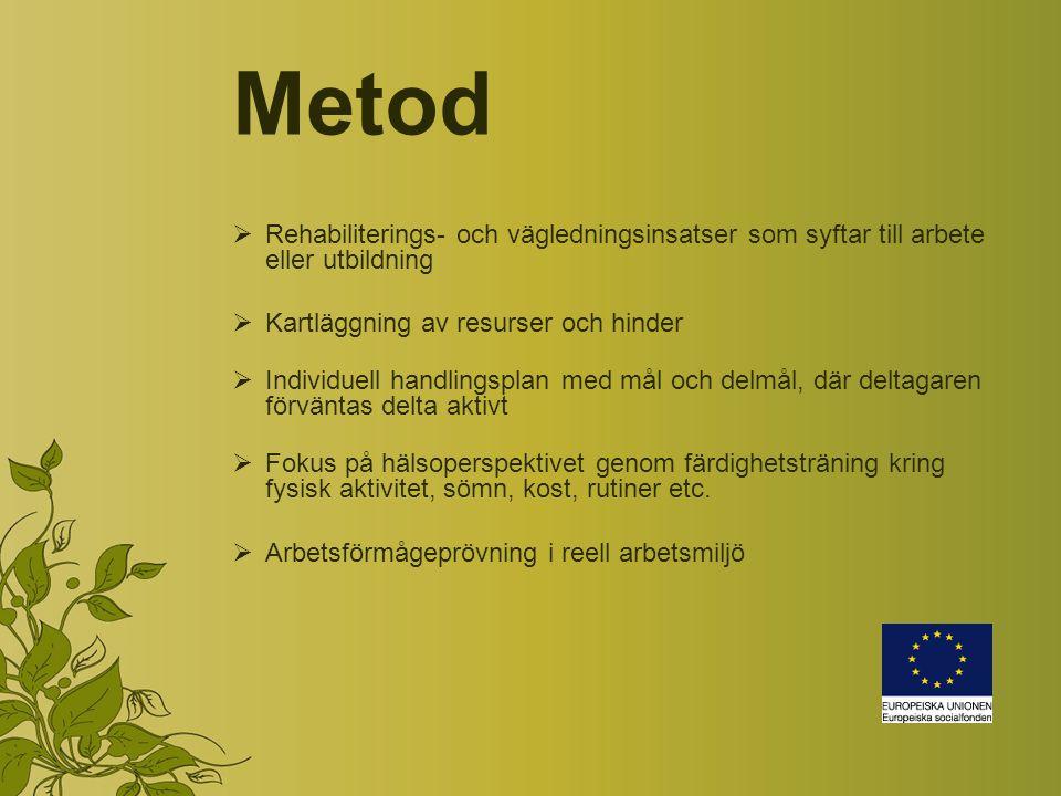 Metod Rehabiliterings- och vägledningsinsatser som syftar till arbete eller utbildning. Kartläggning av resurser och hinder.
