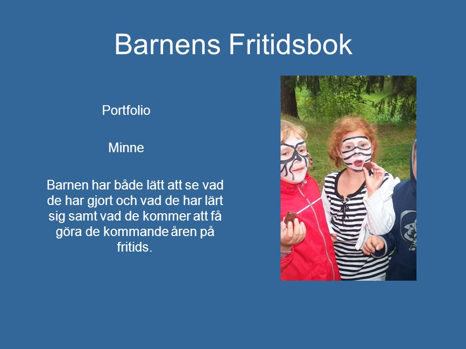 Barnens Fritidsbok Portfolio Minne