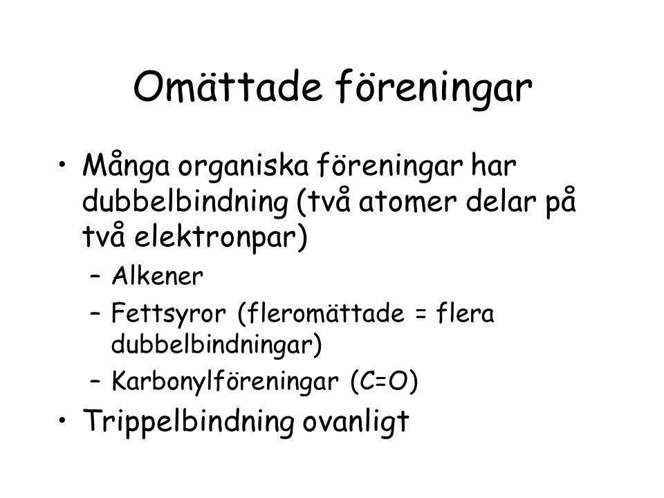 Omättade föreningar Många organiska föreningar har dubbelbindning (två atomer delar på två elektronpar)