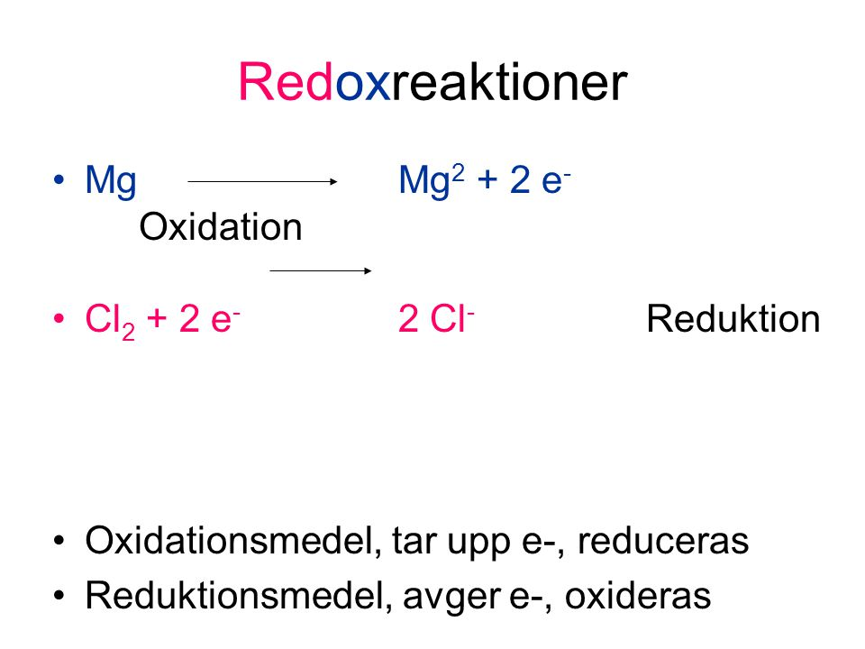 Redoxreaktioner Mg Mg2 + 2 e- Oxidation Cl2 + 2 e- 2 Cl- Reduktion